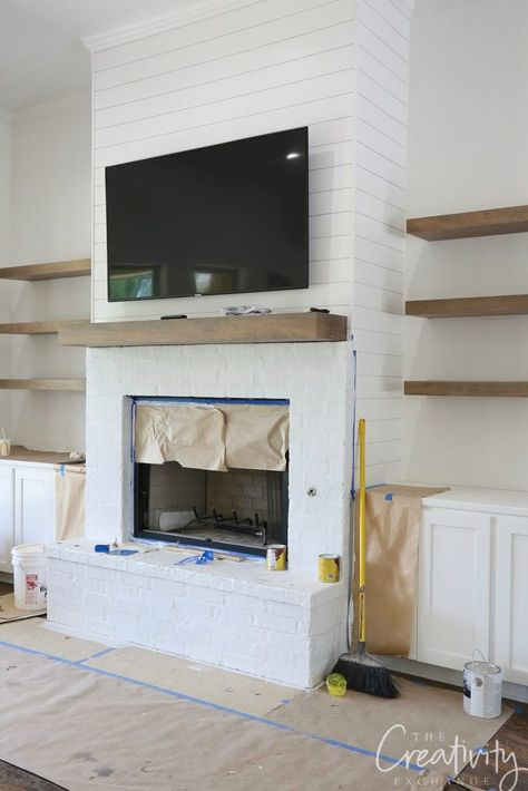 New Photos Fireplace Remodel with shelves Thoughts white shiplapped fireplace with oak floating shelves # fireplace shelves, Client Project Sneak Peek Fireplace Shelves, Fireplace Built Ins, Brick Fireplace Makeover, Shiplap Fireplace, White Fireplace, Farmhouse Fireplace, Living Room With Fireplace, Fireplace Design, Home Living Room
