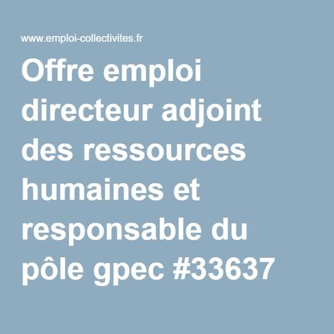 Offre emploi directeur adjoint des ressources humaines et responsable du pôle gpec #33637