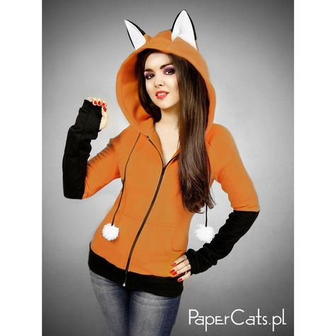Hoodie fox orange kawaii nerd cosplay anime ears by PaperCatsPL