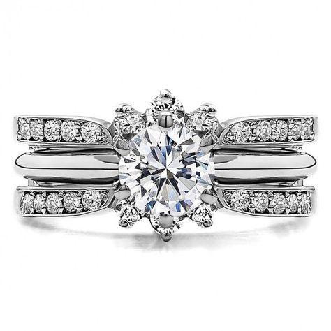 Wedding SET - Gorgeous UNIQUE Flower Rose Diamond Engagement
