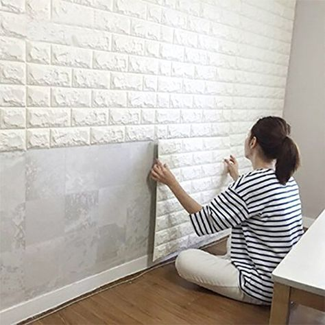 Ft Peel and Stick Wall Panels for TV Walls / Sofa Background Wall Decor, White Brick 6 Sq.Ft Peel and Stick Wall Panels for TV Walls / Sofa Background Wall Decor, White Brick Wallpaper White Brick Walls, White Paneling, White Bricks, White Wood, Gold Wood, Red Bricks, White Stone, Fake Brick Walls, Paint Over Wood Paneling