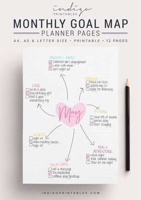 Goal Planner Pack, 12 Pages, Printable | Created by @IndigoPrintables  Your goal planner will help you map out your goals for the year ahead and keep track of them, so you can focus on getting stuff done. Create a mind map of your goals for the month ahead, and or break them down your big monthly goal into bite sized action tasks. :::::::::::: WHAT'S INCLUDED :::::::::::: Your Printable Planner comes in A4, A5 and Letter size and contains: #1 PDF: Goal Planner Pages (12 pages) #2 PDF: Printi...