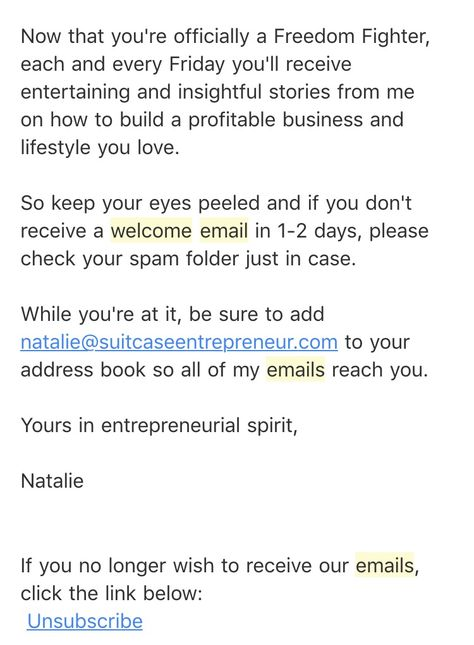Welcome Email Sample Email Marketing \ List Building 101