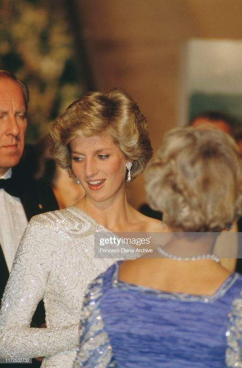 News Photo : Diana, Princess of Wales wearing a white...