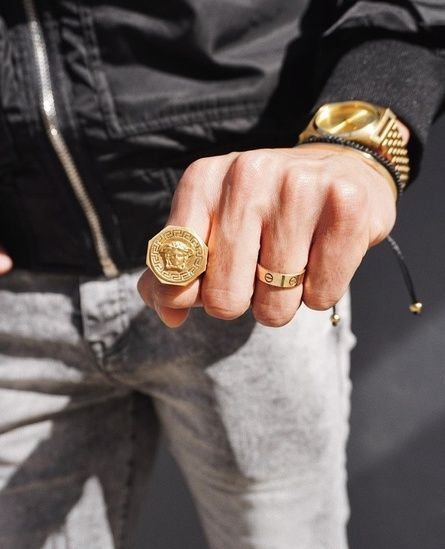 Versace Metallic Medusa Octagon Men S Ring Gold Black Starting At 322 Similar Products Also Available Now On