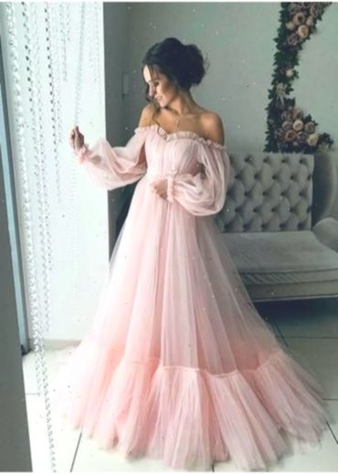 Welp Pink Tulle Off Shoulder Puffy Sleeves Long Prom Dress Hot Evening HQ-59