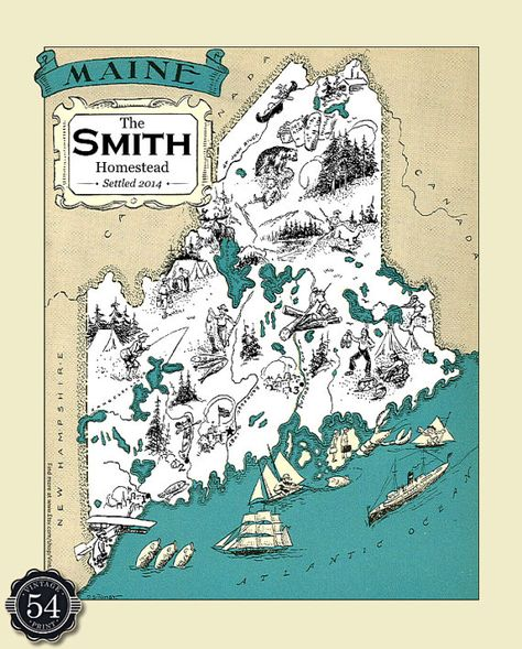 CUSTOM MAINE MAP Vintage Map of Maine Personalized by ClassicWalls