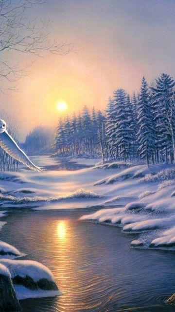 Winter Landscape Painting Scenery Android Wallpaper 360x640 Hintergrundbilder Winter Hintergrund Landschaft Whatsapp Hintergrundbild Awesome snow wallpaper for iphone x