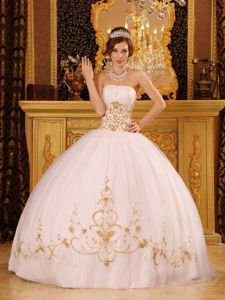 Dreamy White Strapless Quinceanera Gown with Gold Appliques