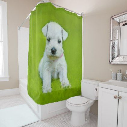 White Schnauzer Puppy Shower Curtain Zazzle Com Schnauzer