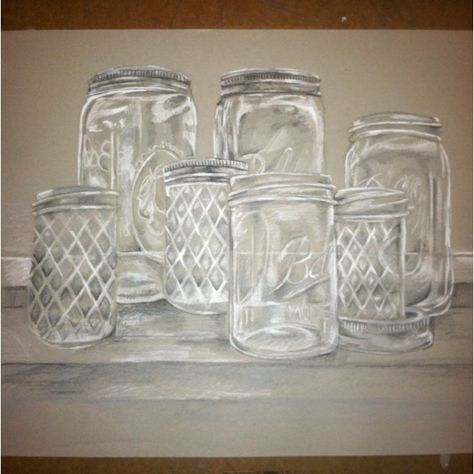 Still Life Drawing, Glassware on toned paper