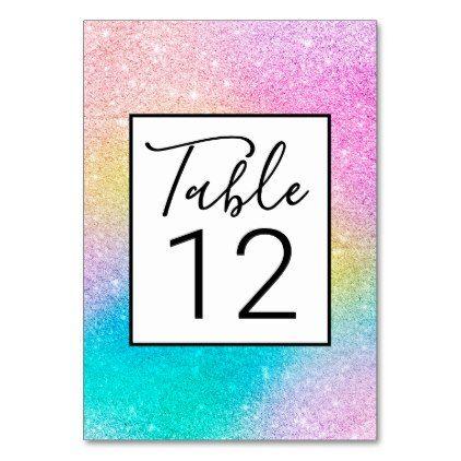 Trendy Unicorn Rainbow Glitter Holographic Pattern Table Number Purple Glitter Turquoise Ombre Rainbow Glitter