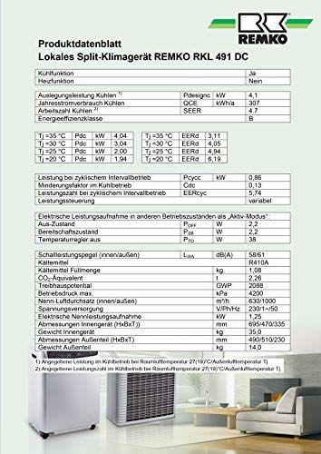 Remko Rkl 491 Dc : remko, Remko, Split, Conditioner, White, Space, 120m³, Cooling, Capacity, B--1388, Conditioner,, Appliances, Direct,