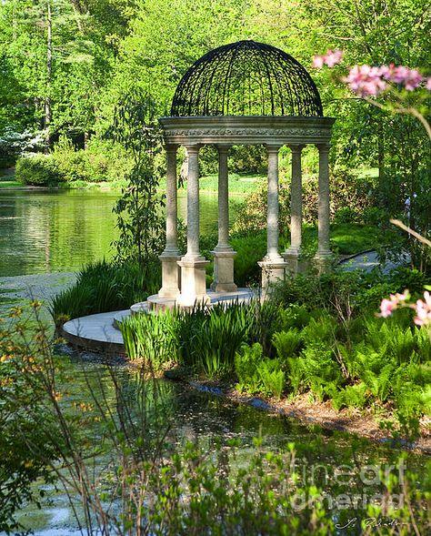 Gazebo By The Lake, by Iris Richardson Beautiful Architecture, Beautiful Landscapes, Beautiful Gardens, Dream Garden, Lake Garden, Parcs, Water Features, Outdoor Gardens, Virginia