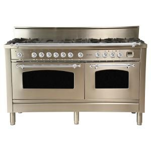 60 In 6 Cu Ft Double Oven Dual Fuel Italian Range True Convection 8 Burners Lp Gas Chrome Trim Stainless Steel Double Oven Oven Range Dual Fuel Ranges