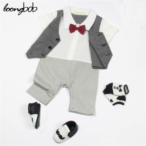7c58af649 Check current price Infant Clothes Baby Boy Rompers Striped Suspender Newborn  Bow Tie Suit Gentleman Formal Suit Baby Romper New Born Clothes just only  ...
