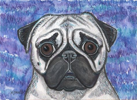 Pug Dog Pet Puppy Original Colorful Watercolor Unique Art Painting