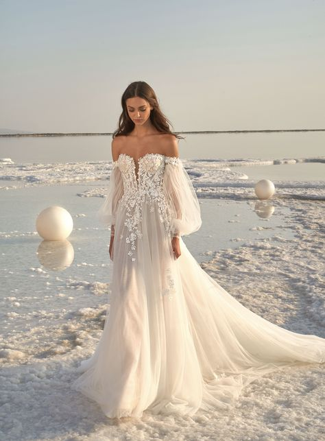 Lee Grebenau Fall 2020 Bridal Collection, LPG Glory wedding dress, from our Fields of Pearls collection, an A-line, corseted gown with off the shoulder sleeves, 3D floral motif cascading down ...,  #BRIDAL #collection #fall