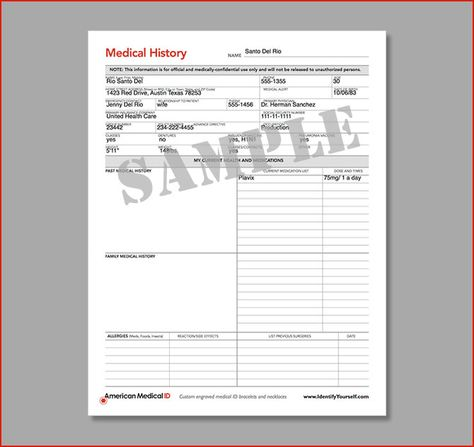 American Medical ID Free Medical Forms Medical History Form - medical form