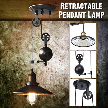 Industrial Vintage Chandeliers Pulley Light Pendant Lighting Fixture Adjustable Wire Retrac Pulley Pendant Light Iron Ceiling Lights Farmhouse Light Fixtures