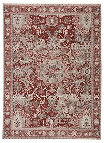 Chaudhary Living 10 X 14 Gray And Red Vintage Medallion Distressed Textured Area Rug Vintage Medallion Rugs Colorful Rugs