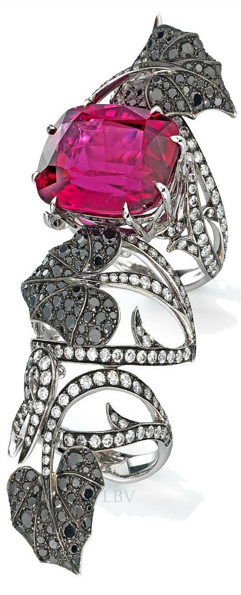 Stephen Webster ♥✤ A rubellite tourmaline long finger ring Dark Jewel collection for Dom Perignon | LBV