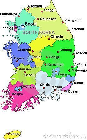 South Korea Map Korea Korean Map South Sudkorea Seoul
