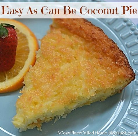 "Coconut Pie -- try for Father's Day  3 eggs 3/4 cup sugar substitute 1/2 cup Bisquick 1/4 cup butter, melted 1/2 teaspoon almond extract 1 teaspoon vanilla extract 1 cup shredded coconut 1-3/4 cups half and half  Grease 9"" pie plate.  Mix all ingredients.  Bake at 350 for 45 min until golden brown.  Store in refrigerator."