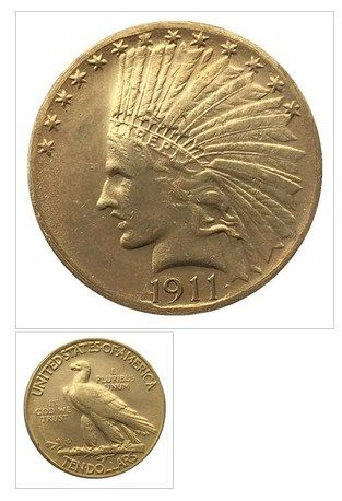 24 K Gold Plated 1911 10 Gold Indian Half Eagle Coin Copy Eagle Coin Gold Gold Plate