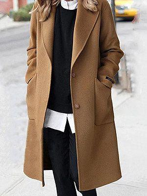 Plain  Long Sleeve Coats