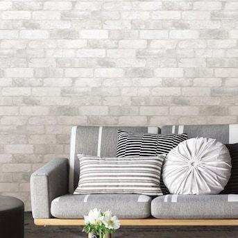 Wallpops Nuwallpaper 30 75 Sq Ft White Vinyl Brick Self Adhesive Peel And Stick Wallpaper Lowes Com Bed Bath And Beyond Peel And Stick Wallpaper Wood Wall Design