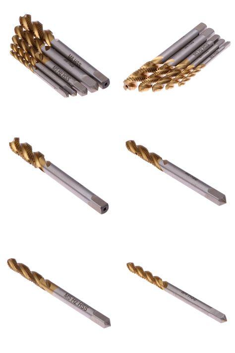 5 PCS HSS Spiral Point Twist Drill Spiral Point Tap Drill Screw Tap Bit Set