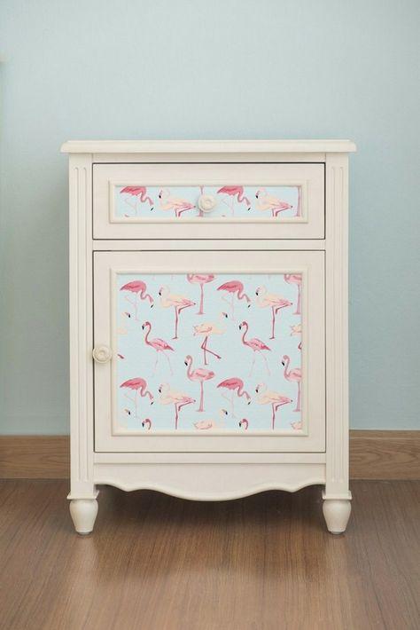 adhesive wallpaper night cabinet flamingo motifs vintage flair