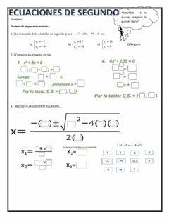 Ecuaciones De Segundo Grado Ecuaciones Ejercicios Interactivos Ecuaciones Cuadraticas