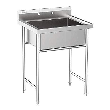 Amazon Com Bonnlo Upgraded 304 Stainless Steel Commercial Sink Free Standing Utility Sink For Garage Rest Stainless Steel Utility Sink Utility Sink Tub Sizes