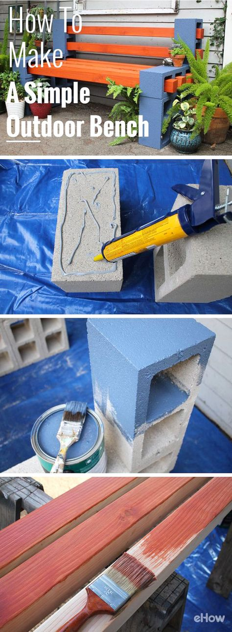 Cinder Block Bench- perfect for your patio or deck! | Diy ...