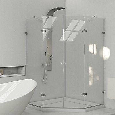 The Vigo Frameless Neo Angle Clear X2f Brushed Nickel Shower