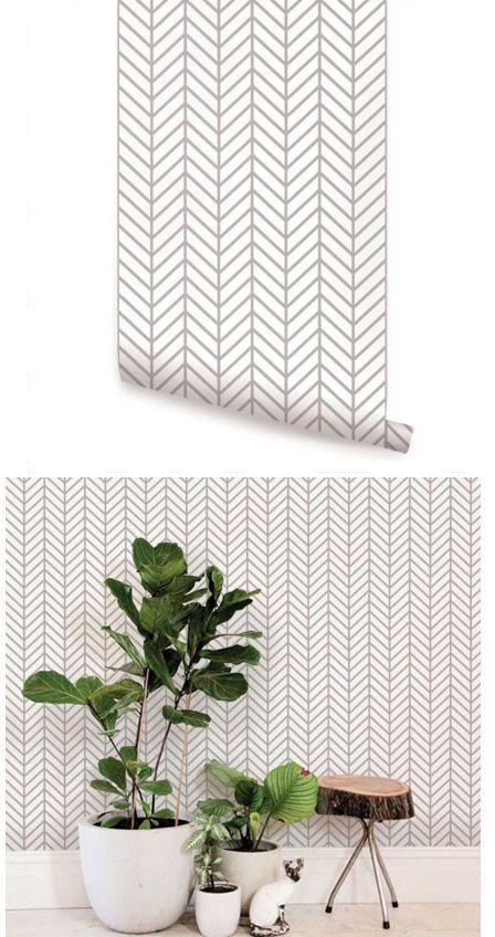 Herringbone Line Gray Peel And Stick Wallpaper Wallpaper Bedroom Wall Wallpaper Decor