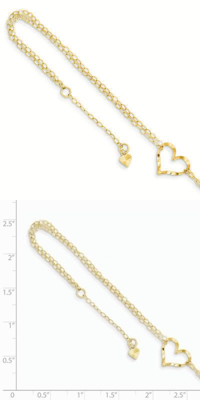 14k Yellow Gold Adjustable Double Strand Heart Necklace