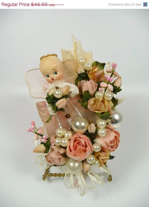 Hey, I found this really awesome Etsy listing at https://www.etsy.com/listing/210590726/christmas-corsage-vintage-pink-angel