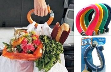 """One Trip Grip... save yourself and your fingers by carrying up to 50lbs of shopping bags in one trip! Click on the image for more information on """"Fun Kitchen Gadgets Part 4"""" by Kitchen Bath Trends"""