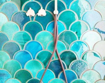 Morocco Fish Scale Ceramic Tile Dark Turquoise Crackle Bathroom Tile Handmade Blue Kitchen Tile Price Per 89 Pieces In 2020 Handmade Tiles Light Colors Fish Scale Tile