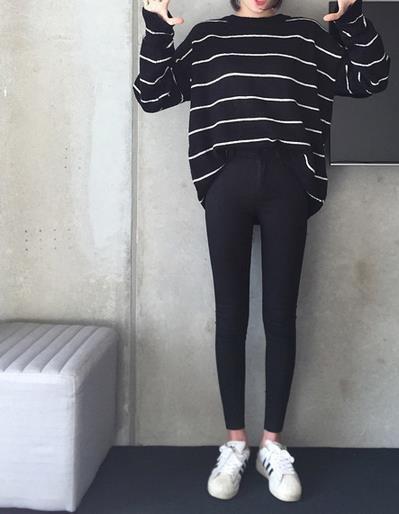 Skinny waist jeans pencil pants - Black / 25