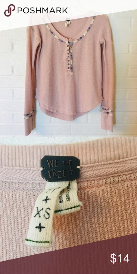 Free People Thermal Top W/ Tribal Print Detail XS We The Free Thermal Henley Top Tribal Trim Sz XS.  Pale pink with pastel tribal print trim.    Good preowned condition.  Awesome top for Fall/Winter wardrobe...great for layers! We The Free Tops