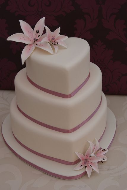 Lilies Heart Wedding Cake by Cakes by Occasion, via Flickr