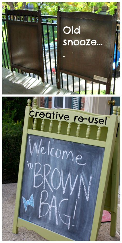 """CRIB SIGN: Crib head and footboard #upcycled and #recycled into fun signs via chalkboard paint to make fun sandwich-boards for outdoor signs -""""party this way- or board signs or even easels for a room."""