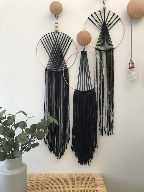 Black Scandi Style Macrame Wall Hanging L   Etsy