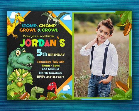 Dinosaur Birthday Invitation Reptile First Boys Bir