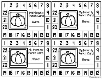 Freebie Monthly Punch Cards By Monica Abarca Teachers Pay Teachers In 2020 Punch Cards Cards Punch