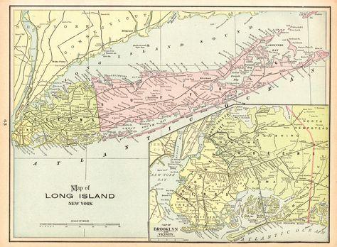 1900 Antique Long Island Map Uncommon Vintage Map Of Long Island New - Long-island-on-us-map